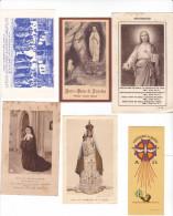 25576- Lot Six 6 Images Pieuses Diverses -ND Rumengol -Montmartre -sainte Bernadette ND Lourdes -Missions
