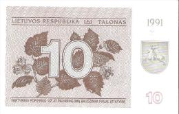 Lithuania - Pick 35b - 10 Talonas 1991 - Unc - Lituanie