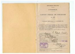 AUTOMOBILES  CARNET FISCAL DE TOURISME FRANCO BELGE  HABITANT  DE CARTIGNIES (NORD) 1933 - Voitures