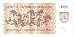 Lithuania - Pick 39 - 1 Talonas 1992 - Unc - Lithuania