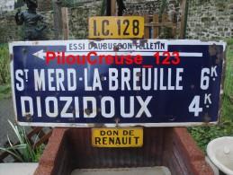"""23 Creuse - ST MERD LA BREUILLE - DIOZIDOUX - """" Ancien Panneau Emaillé Routier De Direction """" - Instructions"""