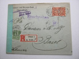 1922 , Einschreiben Mit Zensur Aus Lübeck  Nach  Basel - Briefe U. Dokumente