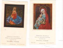 25586- Lot 2 Deux Images Pieuses -facon Vitrail, Vierge à L´enfant -MO Pommier, Saint Aubin Du Cormier 35 France - Images Religieuses