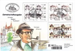 60011w - Enveloppe Souvenir Simenon Recommandé 145 Belgique - Cob 2579  - 1994 émission Commune En Bloc De 4 - France