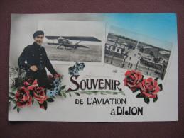 CPA PHOTO 21 OUGES LONGVIC Souvenir De L´Aviation à DIJON  RARE  MULTIVUE FANTAISIE AVION BIPLAN & ENTREE BASE 102 - France
