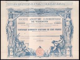 Société  Anonyme Clermontoise De Vidanges  - Feuille Complète Avec Son Bordereau Des Actions Inscrites - Shareholdings
