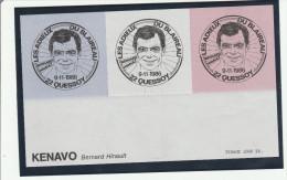 3 Vignettes Bernard Hinault 1986 - Quessoy 22 - Sport Cyclisme - Commemorative Labels