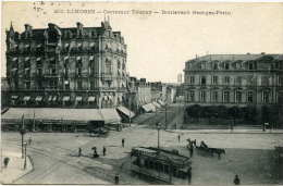LIMOGES (87) - Le Carrefour Tourny- Bd. Georges Périn Avec Tram Et Attelage. Franchise  Gare De Limoges, Comm.militaire - Limoges