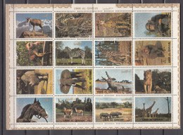 Umm Al Qiwain 1972,16V In Sheetlet,elephants,monkeys,leopards,animals,zebra,giraffe,MNH/Postfris(L2182) - Elefanten
