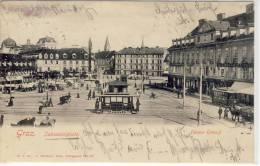 GRAZ - Jakominiplatz Gegen Osten, Straßenbahn,  Rostachteckstempel - Österreich