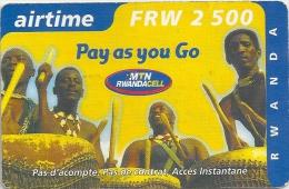 Rwanda - Mobile Rwanda - Pay As You Go Musicians - Exp.12-2002, 2500RF, Used