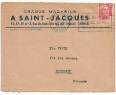 OBLITERATION MECANIQUE LETTRE A EN TETE DE REIMS GARE DU 14/6/1950 - Marcophilie (Lettres)