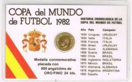16963. Medalla Copa Mundo Futbol 1982, Placada ORO Fino, Au 24 Klts - Monarquía/ Nobleza