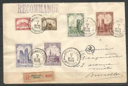 1929 - COB N° 267 à 272 Oblitérés (o) - Impeccable - LES CATHEDRALES - Série Complète Sur LETTRE RECOMMANDEE - Belgique