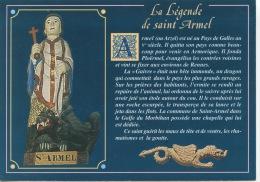"""Statue De Saint Armel (eglise) Légende Arzel Pays De Galle Fonda PloÊRMEL """"guivre"""" Chapelle Saint Armel - Andere Gemeenten"""