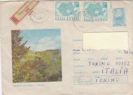 A3627 - Coppia Valori ROMANIA Su Raccomandata Figurata MONTI APUSENI  VG Timisoara-Torino 28-02-1970 - 1948-.... Republics