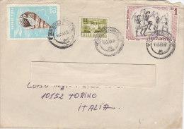 A3628 - 7 Valori Diversi ROMANIA Su Busta  VG Timisoara-Torino 1969 - 1948-.... Republics