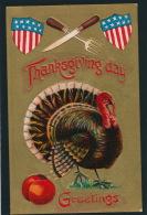 THANKSGIVING - Jolie Carte Fantaisie Gaufrée Dindon Et Drapeau Américain (American Flag) - Embossed Postcard - Thanksgiving