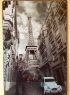 PARIS 2CV CITROEN TOUR EIFFEL - TIN SIGNS - Plaque Métallique Publicitaire Décorative - Plaques Publicitaires