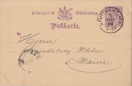 VALUE 5, WURTTEMBERG, PC STATIONERY, ENTIER POSTAL, P27, 1888, GERMANY - Wuerttemberg