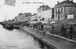 CPA - MACON (71) - Dimanche, Jour De Pêche Au Quai Des Marans En 1906 - Macon
