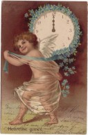 CPA FANTAISIE HEUREUSE ANNEE / ANGE ET SON HORLOGE A MINUIT - New Year
