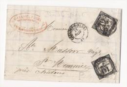 Lettre En Double Port - Taxée Par 2 Timbres 10cts Noir Typo - Châlons Sur Marne - 1859 - 1859-1955 Covers & Documents