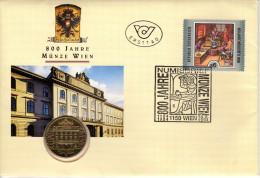 NUMIS-ERSTTAGS-BRIEF, 800 J. MÜNZSTÄTTE WIEN, 20 SCHILLING-MÜNZE 1994, 18.2.1994 - FDC