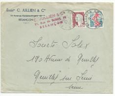 OBLITERATION MANUELLE SUR LETTRE A EN TETE DE BESANCON (DOUBS) DU 23/2/1961 - Marcophilie (Lettres)