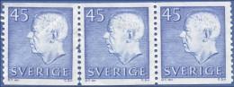 Sweden, 45 O. 1967, Scott # 651, MNH, Block Of 3 - Sweden