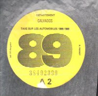 Timbre Fiscal - Vignette Automobile 89  - A2  - 1989 Calvados 14 - Fiscaux