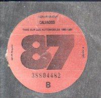 Timbre Fiscal - Vignette Automobile 87  - B  - 1987 Calvados 14 - Fiscaux