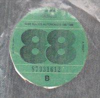 Timbre Fiscal - Vignette Automobile 88  - B  - 1988 Calvados 14 - Fiscaux