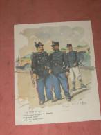 GRAVURE AQUARELLE SUR CANSON / ERNEST FORT / UNIFORME DOUANES / GENDARMES/ CLAIRON SOUS BRIGADIER 1905 / LITHOGRAPHIE - Estampes & Gravures