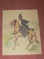 GRAVURE AQUARELLE SUR CANSON / ERNEST FORT / UNIFORME DOUANES / GENDARMES/ DOUANE A CHEVAL 1812/ LITHOGRAPHIE - Prints & Engravings