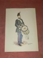 GRAVURE AQUARELLE SUR CANSON / ERNEST FORT / UNIFORME DOUANES / GENDARMES/ TAMBOUR 1854  / LITHOGRAPHIE - Estampes & Gravures