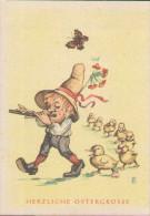 Herzliche Ostergrüsse, Entenmarsch Zum Flötenspiel Mit Zwerg Und Schmetterling, Künstler-Postkarte - Pâques
