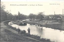 POUILLY SOUS CHARLIEU Le Canal La Tuilerie Péniche Tirée Par Des ânes - Otros Municipios