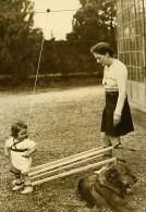 Suisse Lugano Machine A Apprendre A Marcher Mere Et Enfant Ancienne Photo 1939 - Photographs