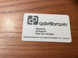 """Calendrier * Plastique 1990 Format Carte De Crédit """"gabrillarques Bijouterie VILLEFRANCHE (69)"""" (5,3x8,5cm) - Petit Format : 1991-00"""