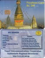 NEPAL -  Temple, Nepal Telecom Telecard, First Issue RS 200(matt Surface), Sample(no CN) - Népal