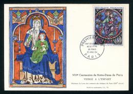 """CARTE MAXIMUM """"8ème CENTENAIRE DE NOTRE-DAME DE PARIS - VIERGE A L'ENFANT"""" - OBLITERATION 1er JOUR PARIS 23 MAI 1964 - Eglises Et Cathédrales"""