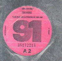 Timbre Fiscal - Vignette Automobile 91  - A2  - 1991 Calvados 14 - Fiscaux