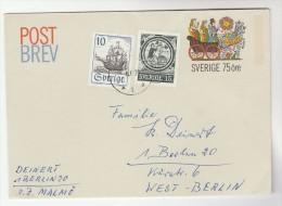 1973 SWEDEN 10o Sailing Ship 15o Stamps UPRATED 75o Postal STATIONERY COVER To Germany - Postal Stationery