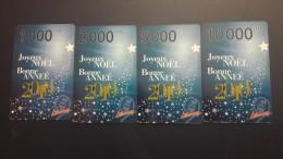 Central African Republic  Libertury-joyeux Noel Bonne Annee2010-(1000,2.000,5.000,10.000fcfa)-mint+1card Prepiad Free - Repubblica Centroafricana