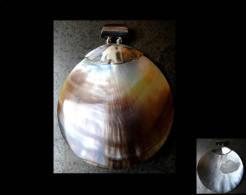 Large Pendant D´Océanie Argent Et Nacre / Oyster Shell And Silver Big Round Design Pendant - Pendentifs
