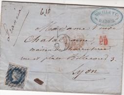 1864. LETTRE ESPAGNE. N° 55. MOUILLE Y COMPANIA MADRIDPOUR KYON. PD. TAXE 5. MADRID. ESPAGNE St JEAN DE LUZ   /  5343 - 1850-68 Regno: Isabella II