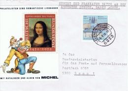 """D+ Deutschland 1988 Mi 1370 Universität Köln Auf Brief """"Mona Lisa"""" - [7] República Federal"""