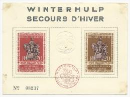 1943 - SECOURS D'HIVER - CARTE NUMEROTEE - Belgique