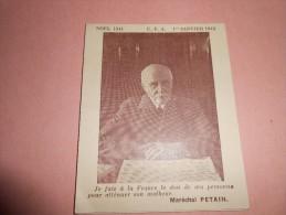 Calendrier Format De Poche - 1942 -  Pétain - Société Des Foyers U F A - Kalenders
